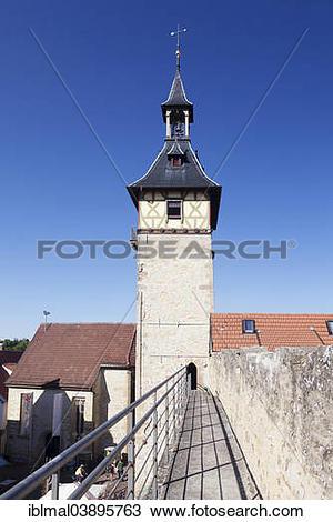 "Stock Photo of ""Oberer Tortum, Upper Gate Tower, Burgplatz Square."