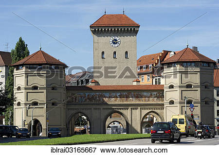 """Picture of """"City gate and gate tower of the Isar Gate."""