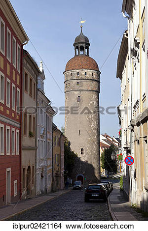 Stock Photo of Nikolaistrasse street with Nikolaiturm tower.