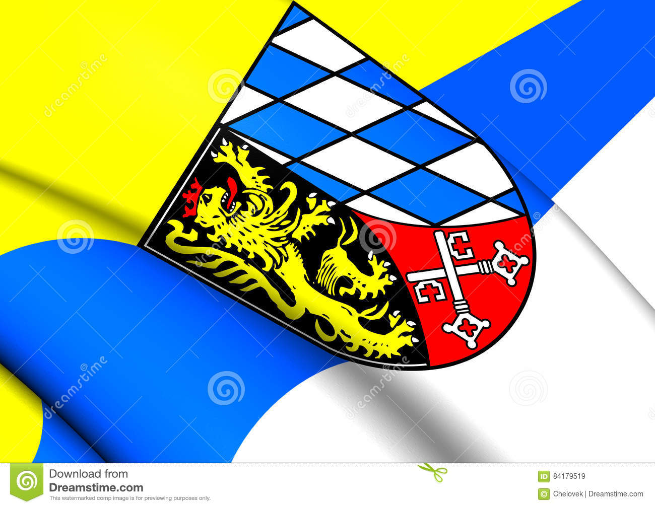 Flag Of Upper Palatinate, Germany. Stock Illustration.