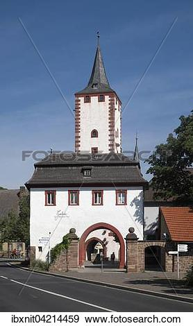 Stock Photograph of Upper town gate and gate tower, Karlstadt.