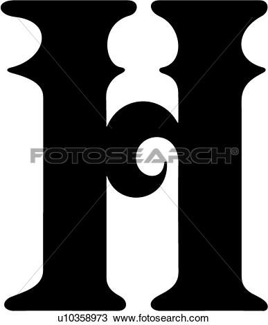Clipart of , alphabet. south, capital, h, letter, lettered, street.