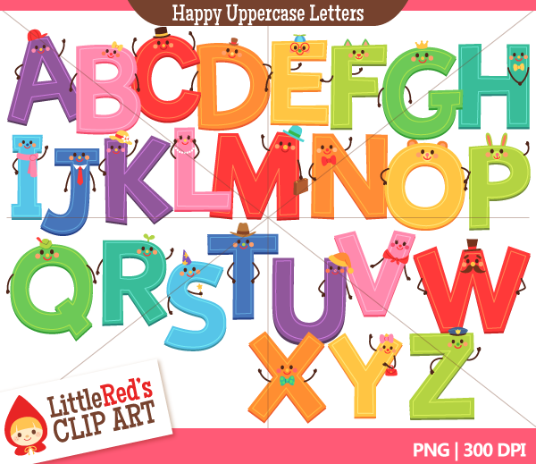 Uppercase Happy Letters Alphabet Clip Art.