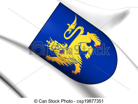Stock Illustrations of Uppsala Coat of Arms, Sweden. Close Up.