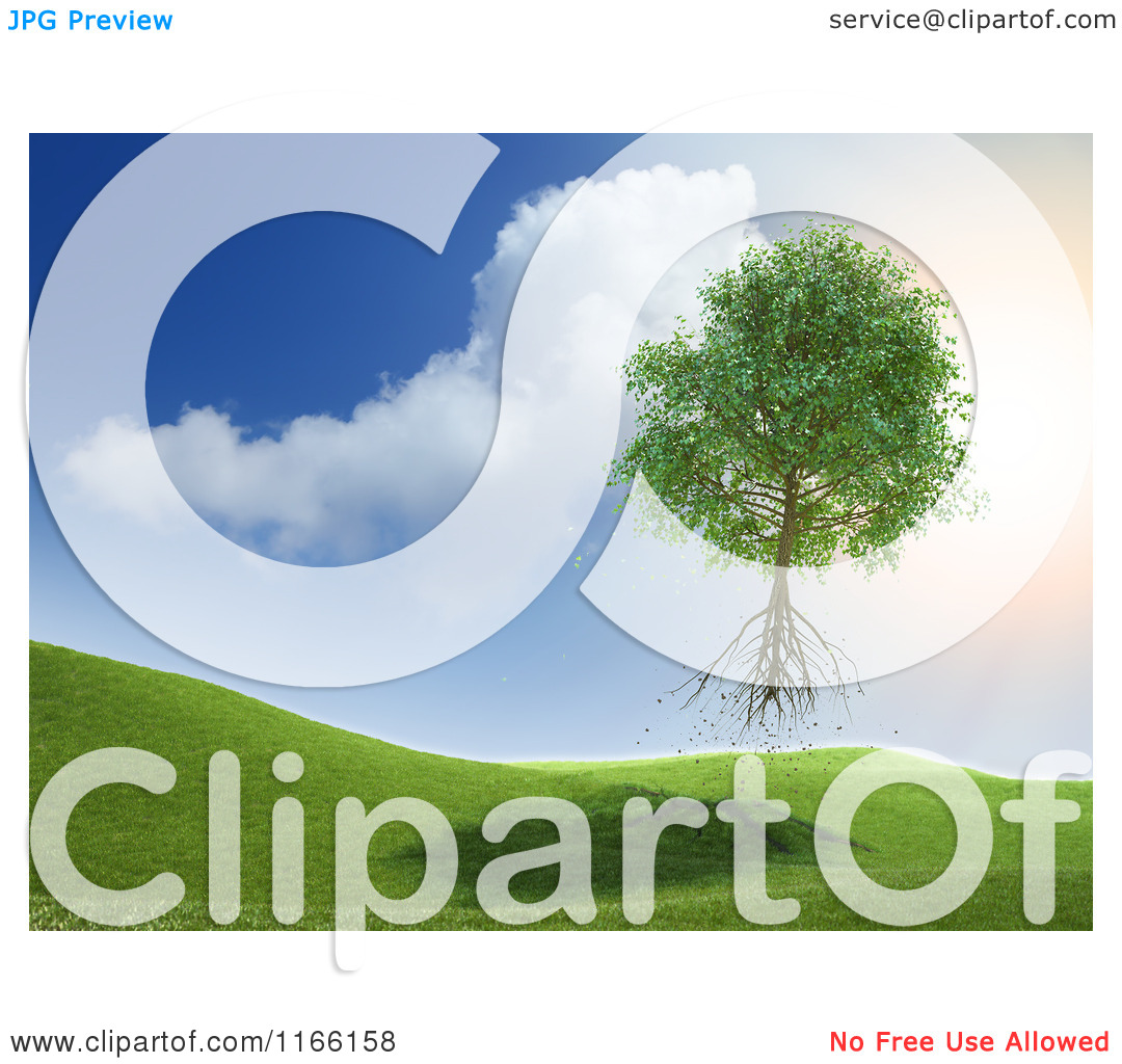 Clipart of a 3d Uprooted Tree Floating Away into the Sky.