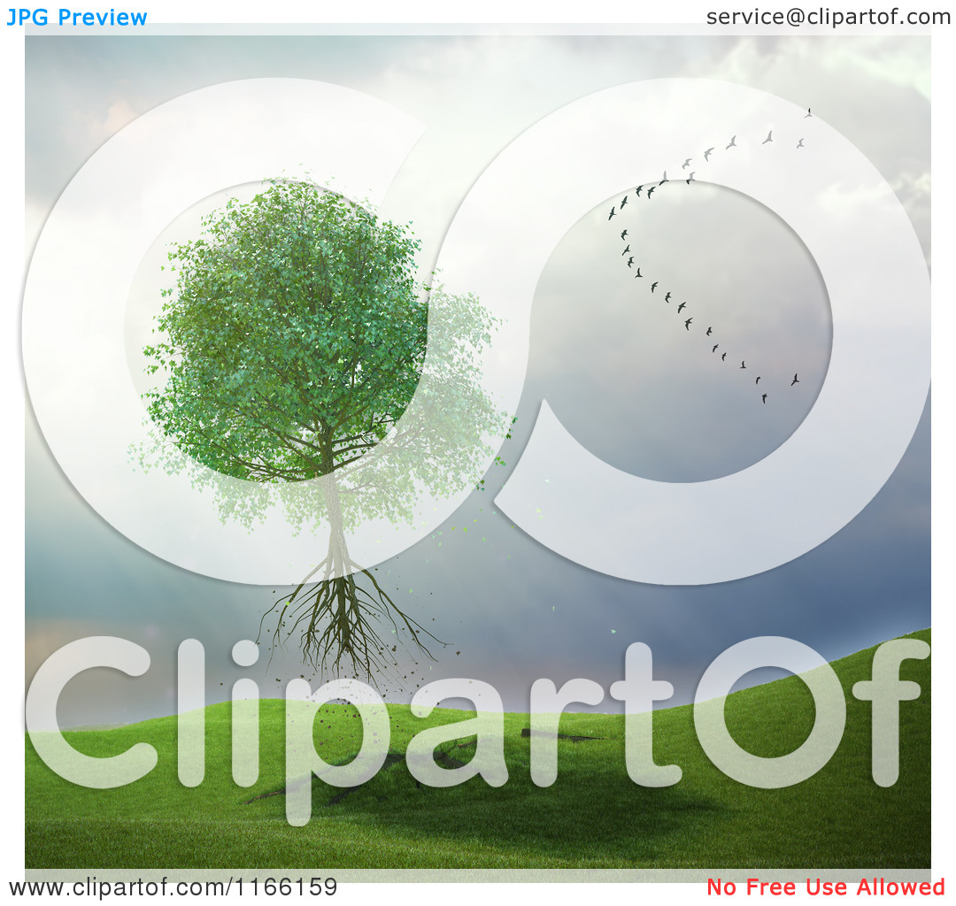 Clipart of a 3d Uprooted Tree Floating Away with a Flock of Birds.