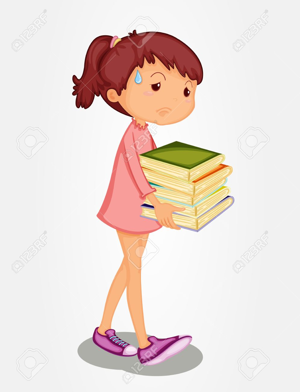 Isolated Girl Carrying Heavy Books Royalty Free Cliparts, Vectors.