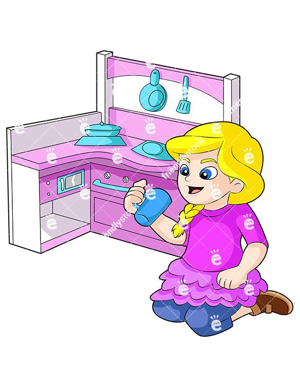 A Blonde Little Girl Playing With A Toy Kitchen Set.