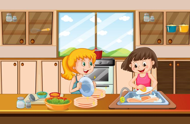Girls cleaning dish in kitchen.