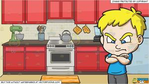 A Mad And Angry Boy and A Stove In The Kitchen Background.