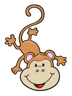 Upside Down Hanging Monkey Clipart.