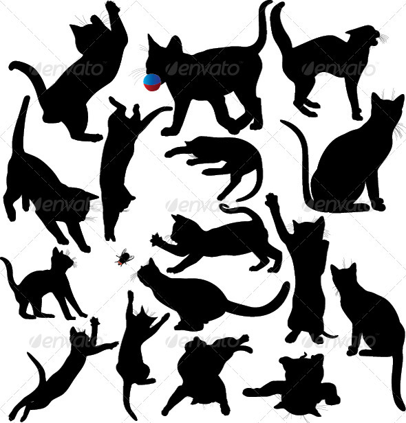 Cat and Kitten Silhouette Set.