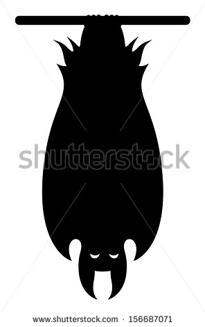 Bat Hanging Upside Down Halloween Vector Stock Vector 156687071.