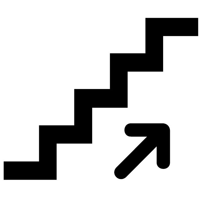 Stairs up vector sign.