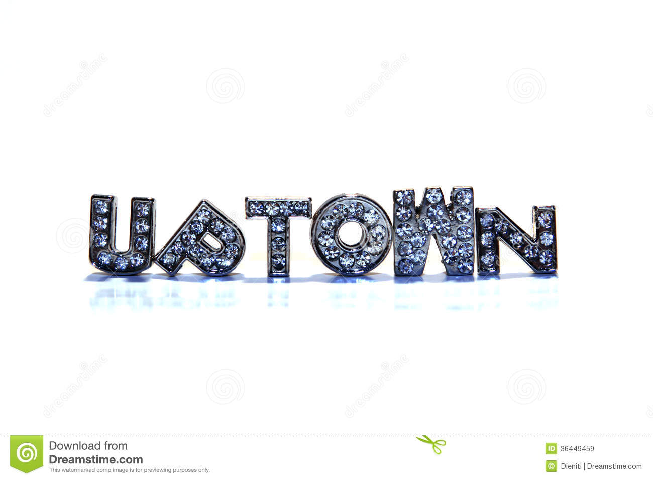 Word UPTOWN On White Background Royalty Free Stock Images.