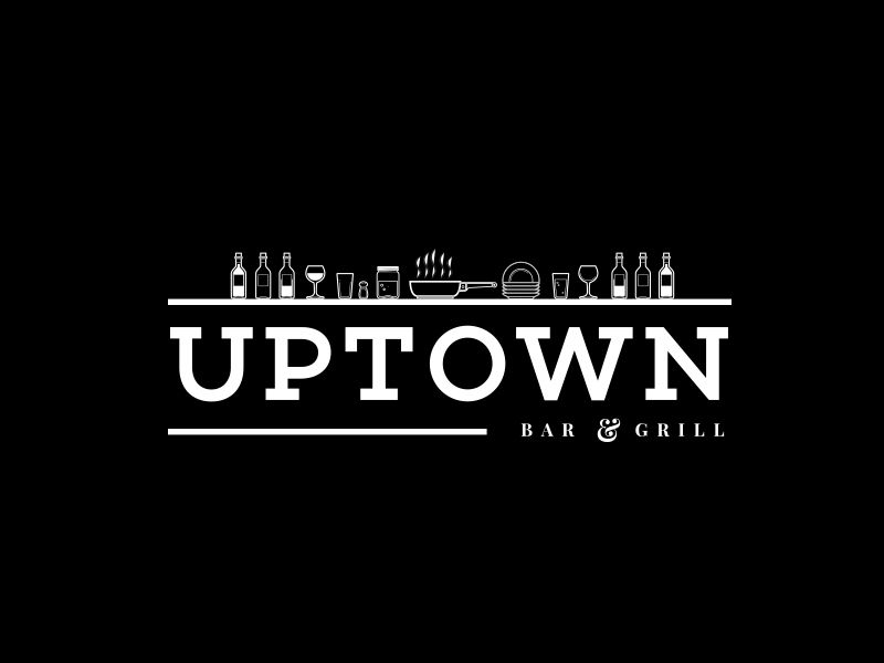 Uptown bar and grill logo black bradley lancaster.