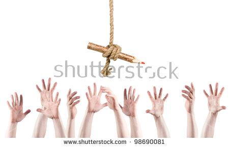 Many Hands Raised Upward Reach Pencil Stock Photo 98690081.