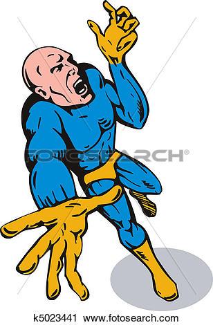 Clipart of superhero reaching out upward k5023441.