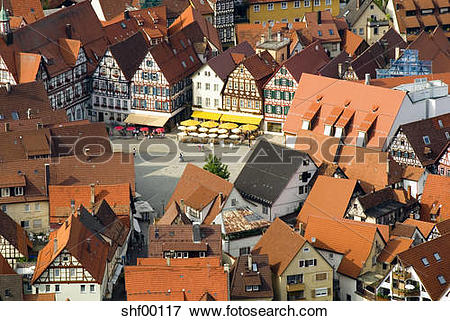 Picture of Germany, Bad Urach, Old Town, aerial view shf00117.