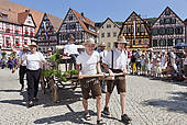 """Pictures of """"Fanfare players, historical parade, Schaferlauf."""