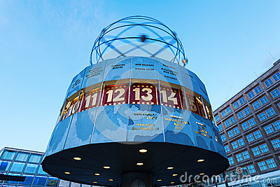 World Clock At Alexanderplatz In Berlin, Germany Editorial Stock.