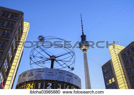 "Stock Photography of ""Urania World Clock in front of the TV Tower."