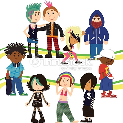 Urban Adolescents Clipart vectoriel.