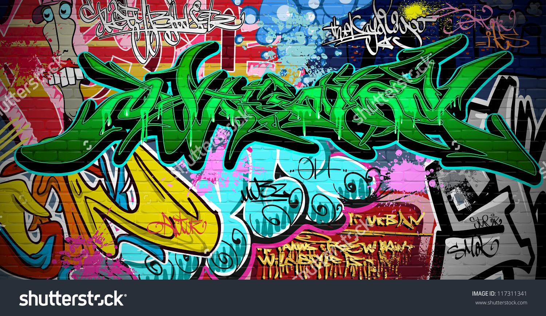 Graffiti Wall Vector Urban Art Stock Illustration 117311341.