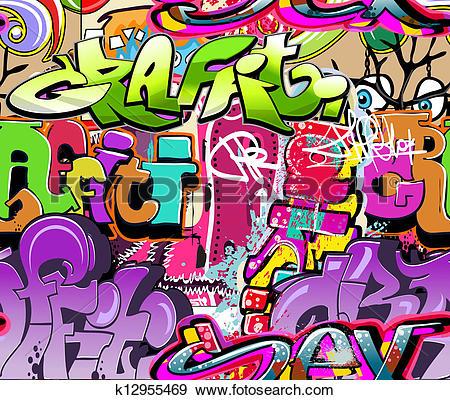 Clip Art of Graffiti wall. Urban art vector background. Seamless.