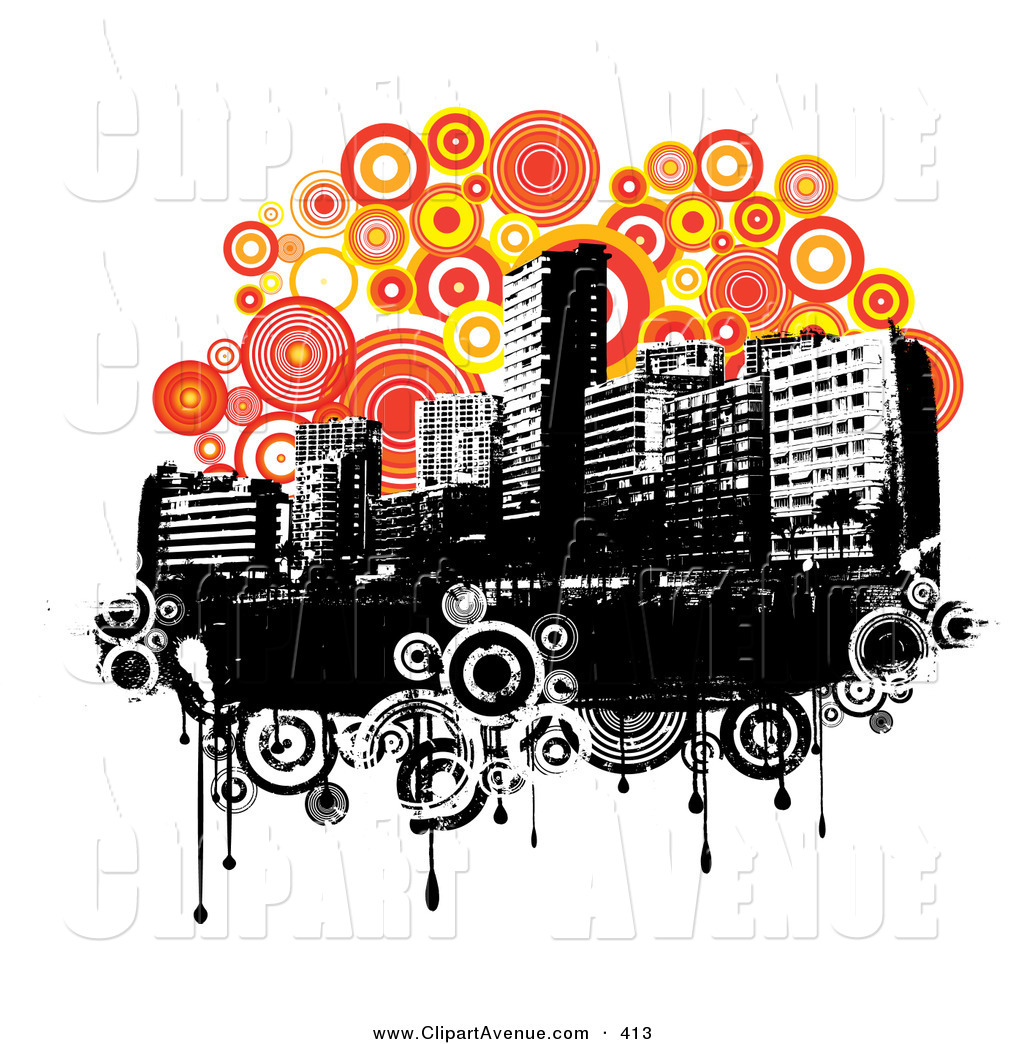Avenue Clipart of a Black and White Urban Skyline over Grunge.