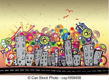Stock Illustration of Cityscape background, urban art csp1658458.