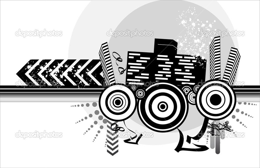 Halftone urban design — Stock Vector © phyZick #1275106.
