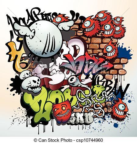 Clip Art Vector of graffiti urban art elements csp10744960.