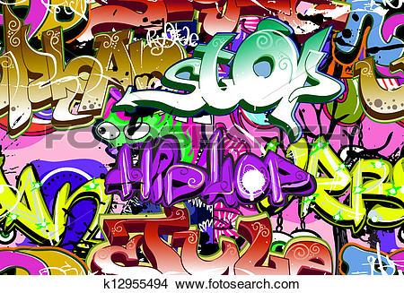 Clipart of Graffiti wall. Urban art vector background. Seamless.