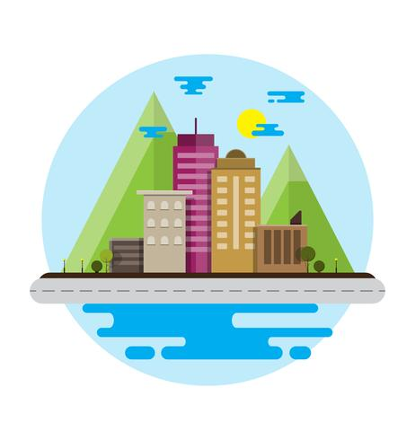 Flat Design Urban city Landscape with Mountain of.