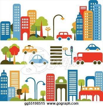 Cute vector illustration of a city street.