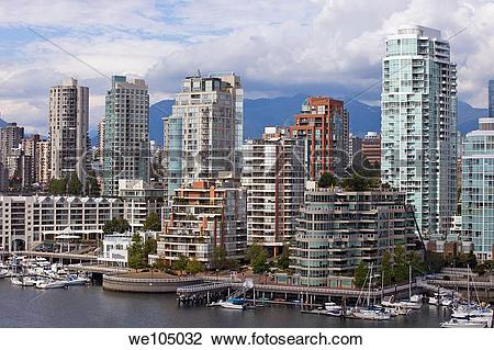 Stock Photo of Vancouver skyline and False Creek condos, Vancouver.