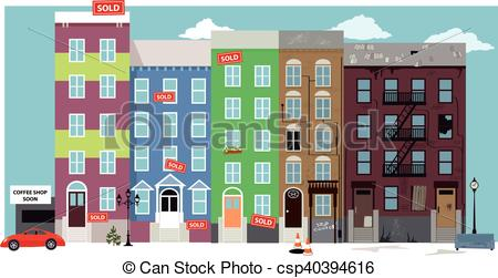 Vector Clip Art of Gentrification.