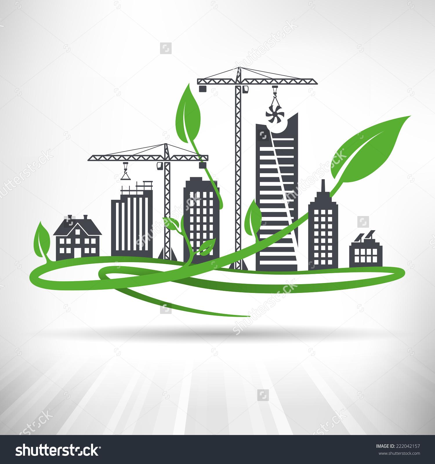 Green Urban Development Concept Cityscape Ongoing Stock Vector.