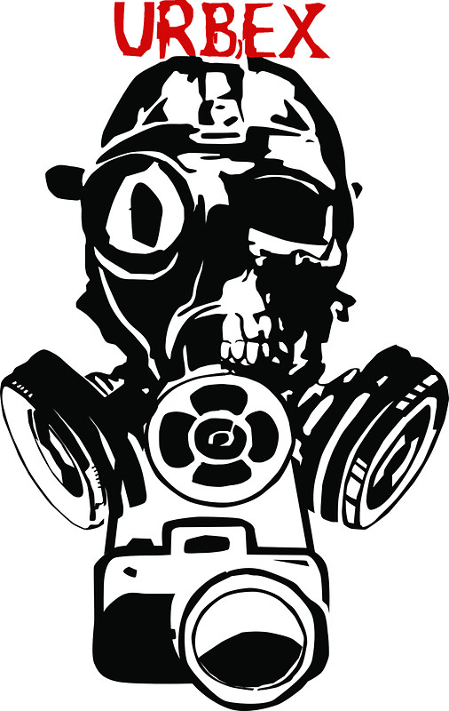 "Urban Exploration UrbEx Gas Mask Skull"" Stickers by Charles Bodi."
