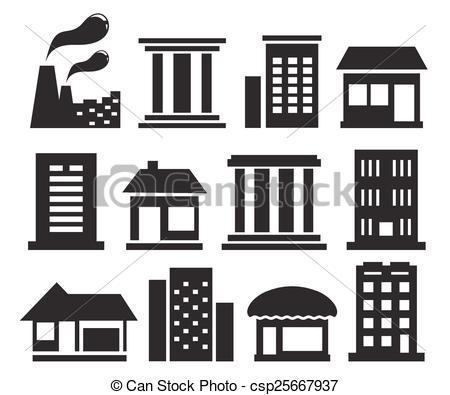 Vectors of set urban building icons.