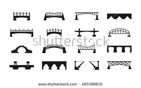 Vector Black Bridges Icons Isolated On Stock Vector 465398615.