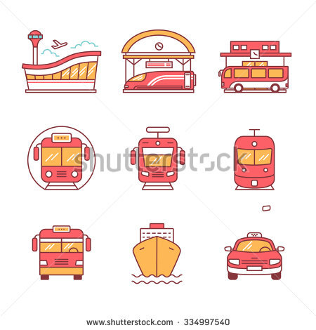 Modern Transportation And Urban Infrastructure Set. Road, Rail And.