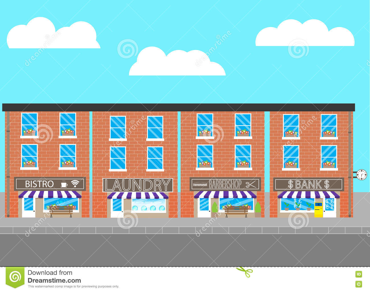 Urban Infrastructure Bank, Laundry And Cafes Stock Vector.