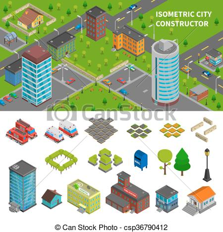 Vector Clip Art of City Constructor Isometric Banners.