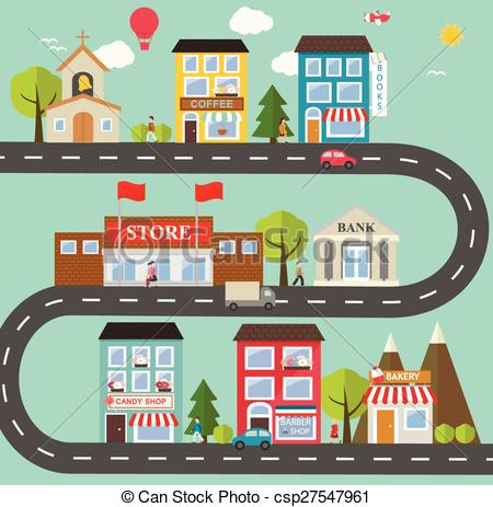 Clip Art Vector of Small town urban landscape in flat design style.