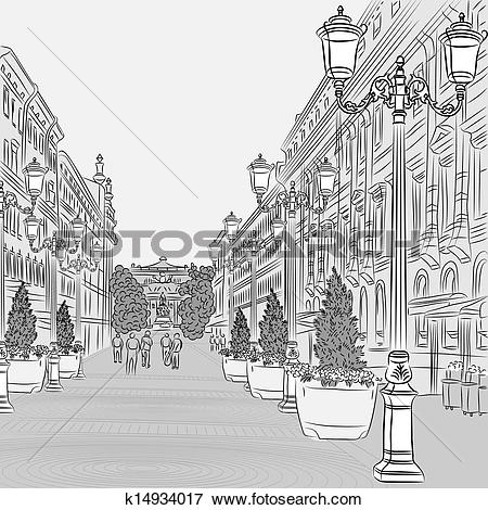 Clip Art of Urban landscape, the wide avenue with vintage.