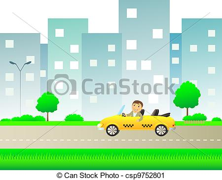 Clipart of urban landscape with taxi and happy man showing thumb.