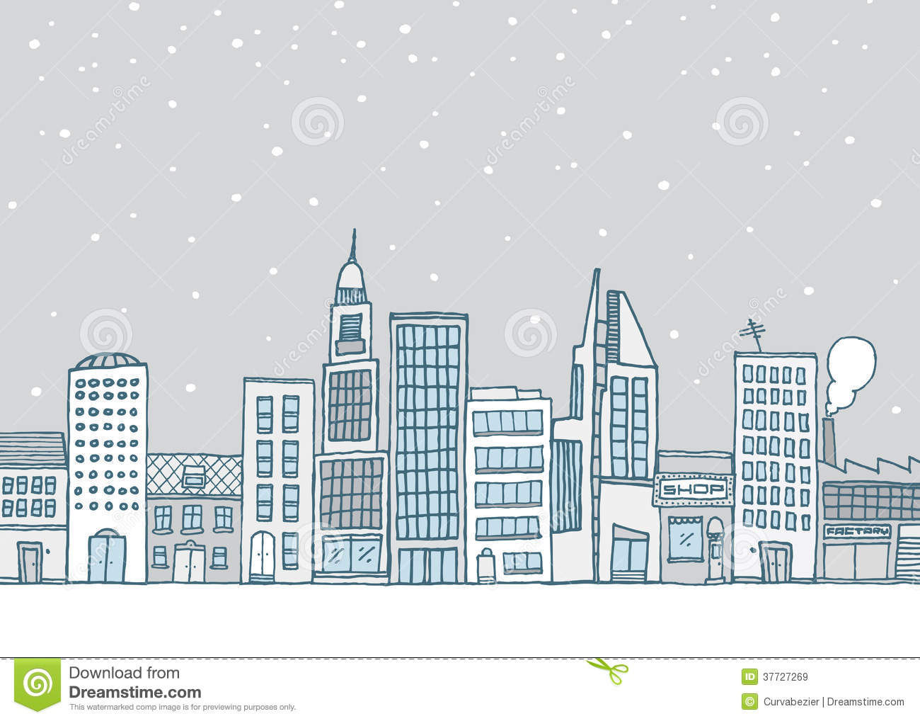 White Urban Landscape In Snowy Weather Royalty Free Stock Images.