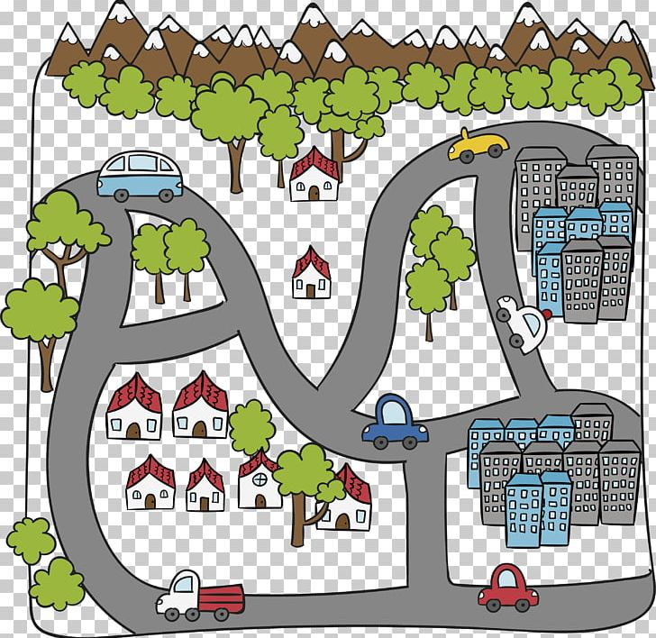 Cartoon Drawing PNG, Clipart, City Road, City Street View.